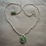 necklace of sea glass and tatting